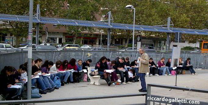 Lezione all'aperto Università di Cassino - protesta contro legge 133