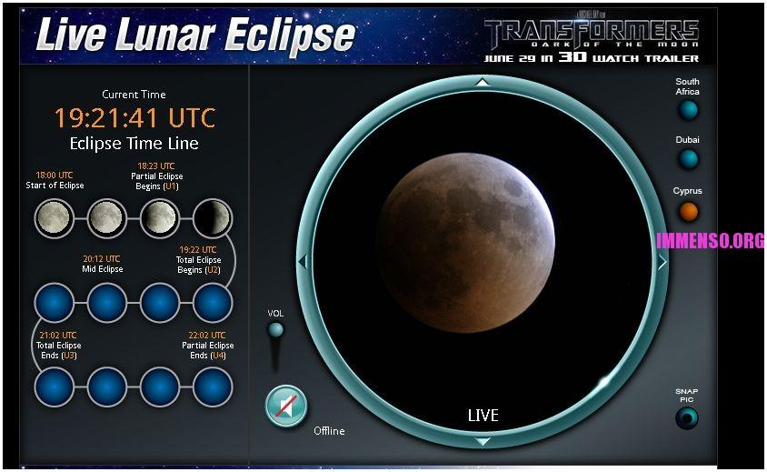 eclisse di luna in diretta