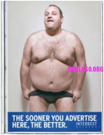 uomo grasso pubblicità