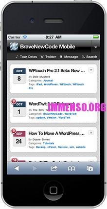 versione per cellulari blog wordpress