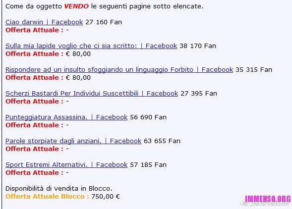vendita pagina facebook business