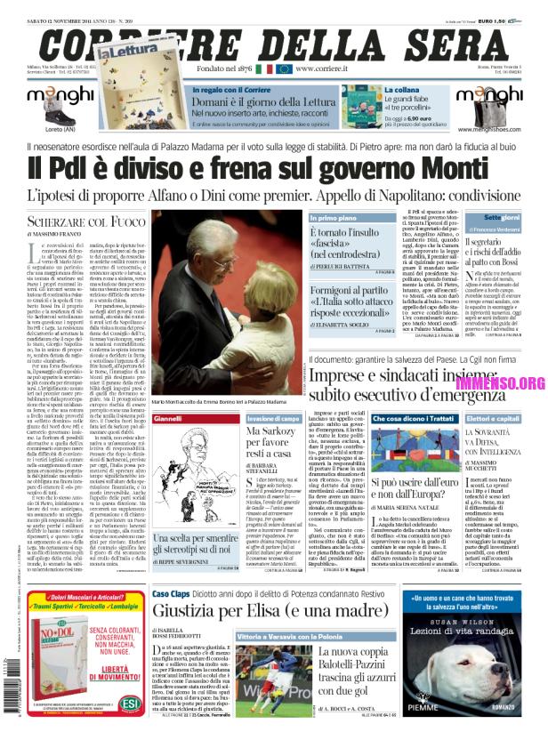Foto berlusconi dimissioni prima pagina corriere della for Corriere della sera casa
