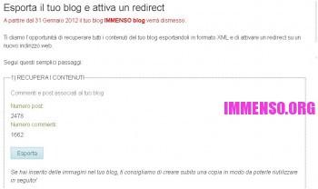 configurazione per esportare un blog da splinder