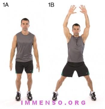 allenamento 7 minuti  salto gambe divaricate