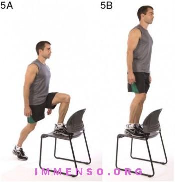 allenamento HICT step con la sedia