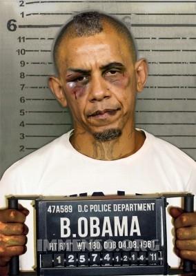 obama malmenato foto segnaletica