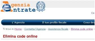 elimina code online agenzia delle entrate