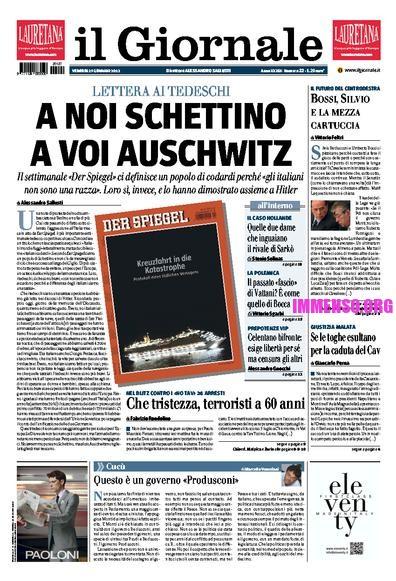 prima pagina Il Giornale Schettino Auschwitz