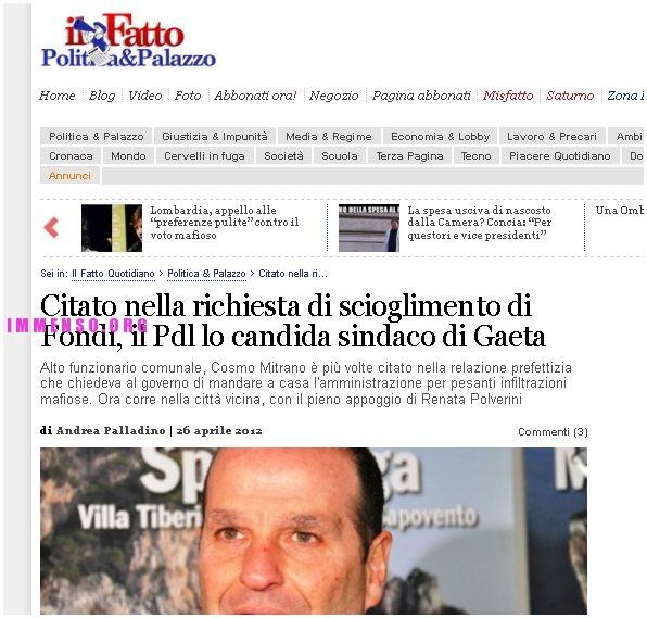 cosimino mitrano: articolo de il fatto quotidiano sul caso mafia a fondi