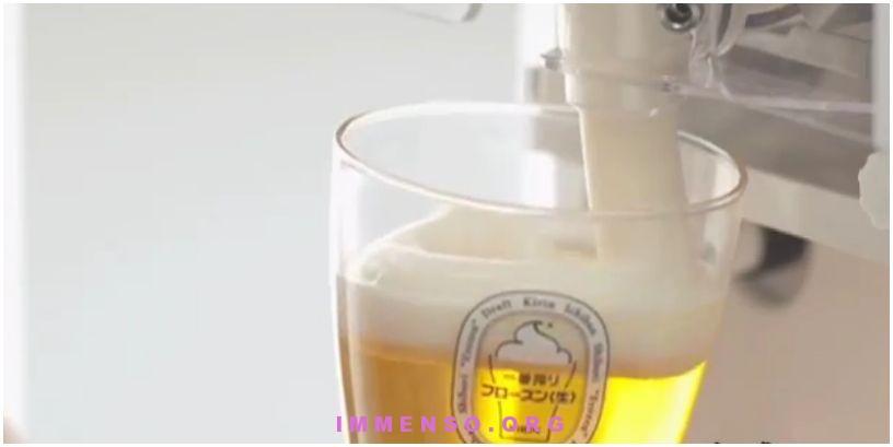 schiuma di birra ghiacciata