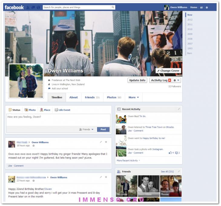 timeline facebook nuova versione
